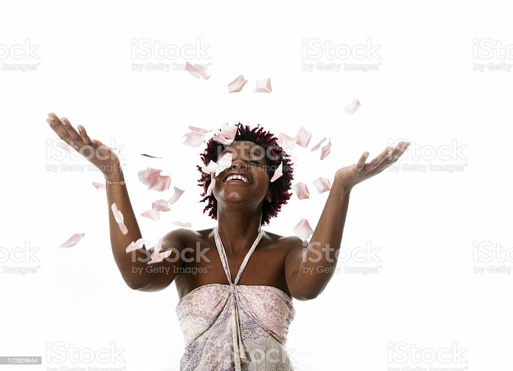 Woman throwing petals royalty-free stock photo