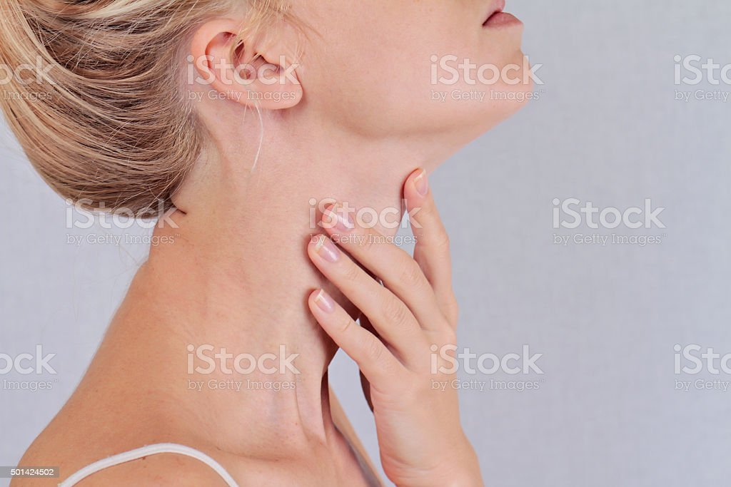 Woman thyroid gland control stock photo