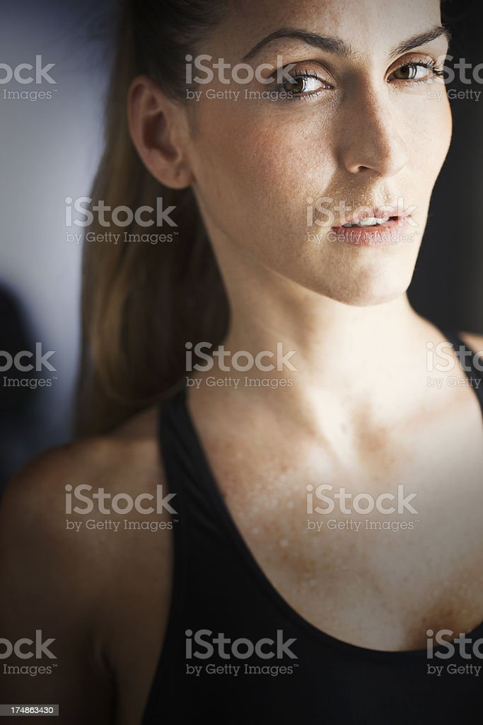 Woman tired and sweaty after practicing sport. royalty-free stock photo