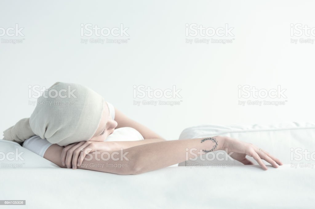 Woman tired by cancer treatment stock photo
