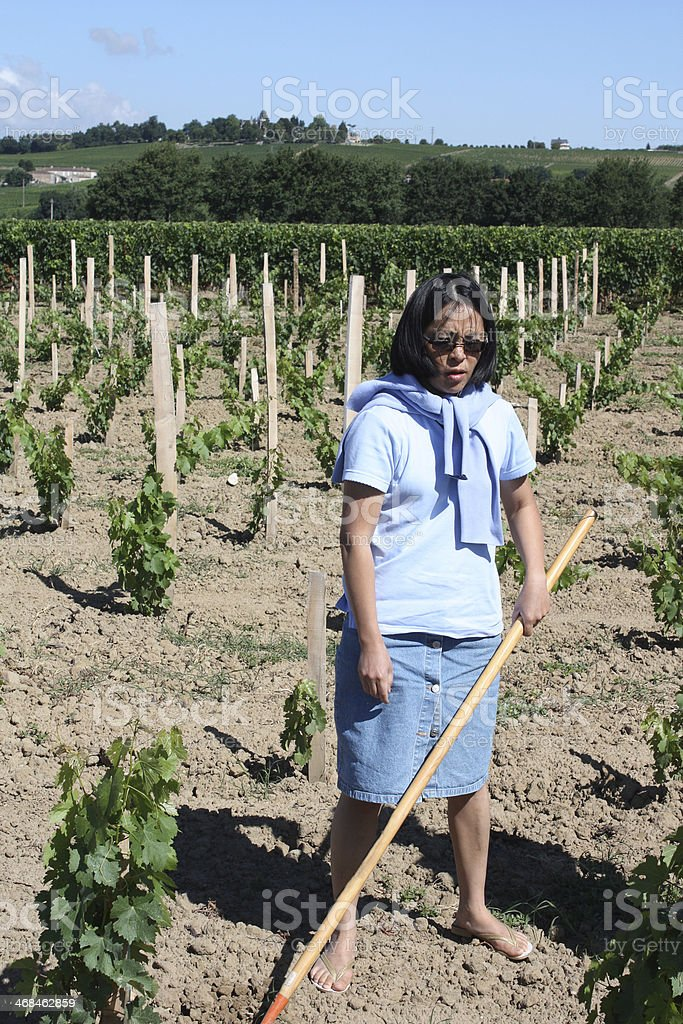woman tired gardening in a vineyard royalty-free stock photo