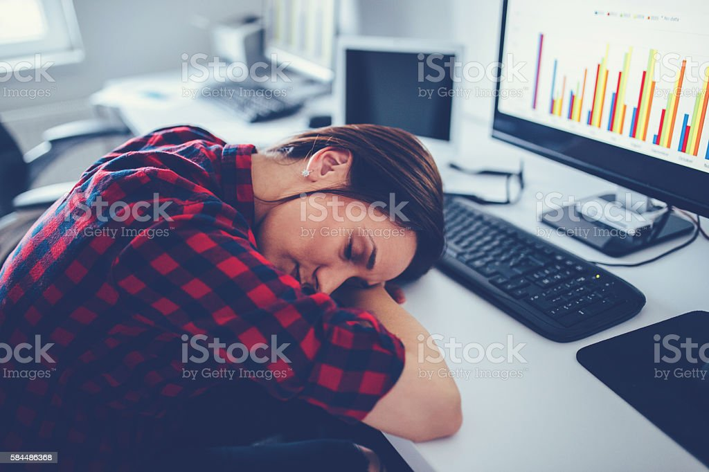 Woman tired of work stock photo