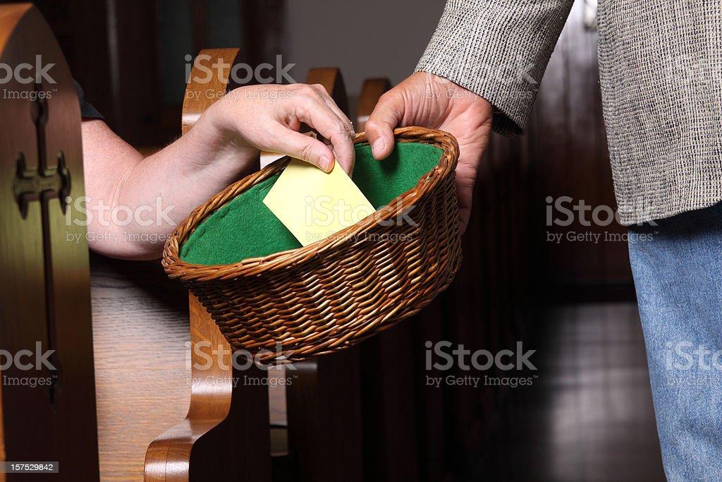 Woman Tithing stock photo