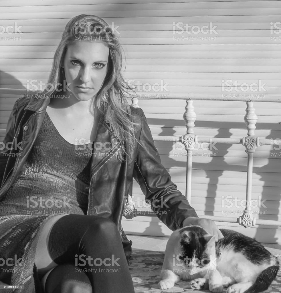 woman to the kitty stock photo