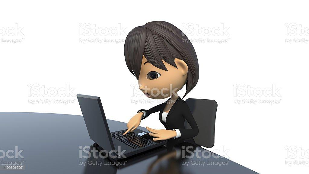 Woman to type the Enter key royalty-free stock photo