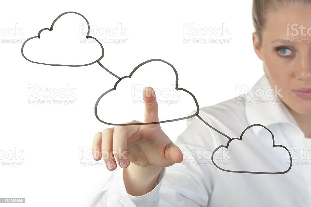 Woman touching a cloud computing icon royalty-free stock photo