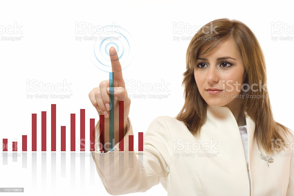 Woman Touching a Liquid Display Chart royalty-free stock photo