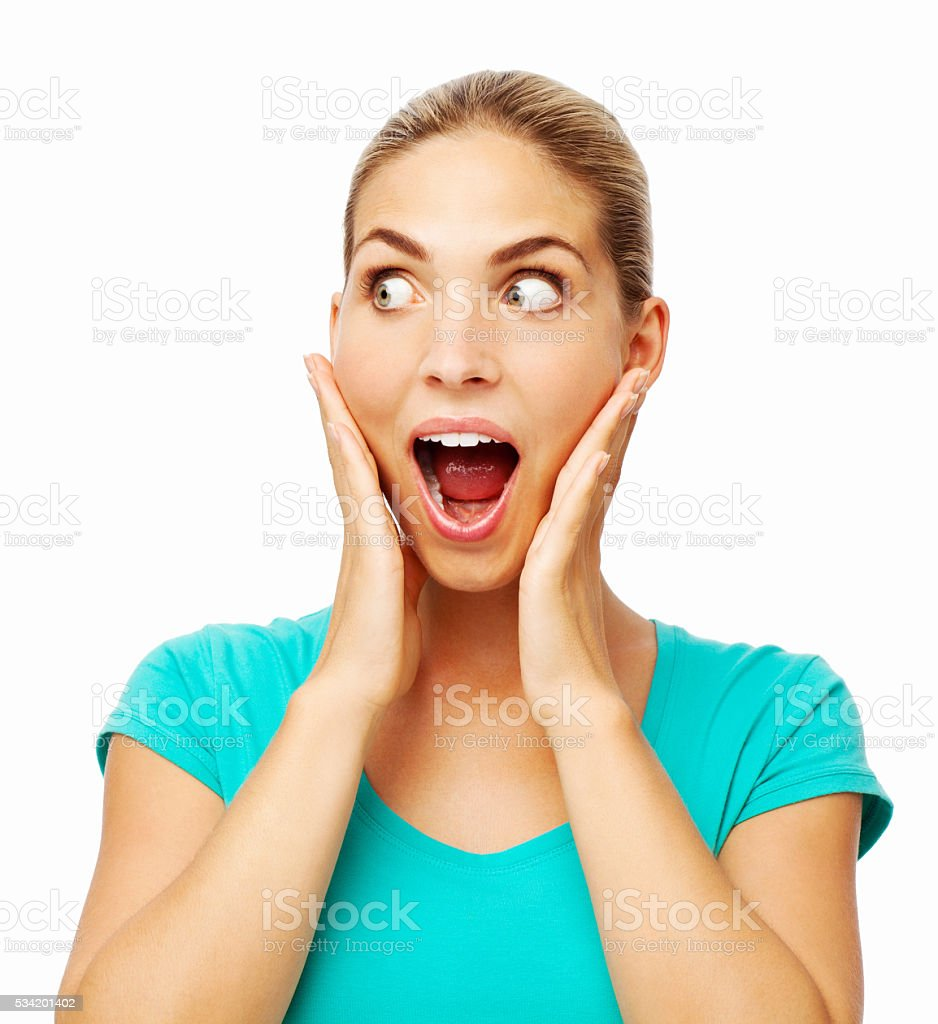 Woman Touching Cheeks While Screaming Over White Background stock photo
