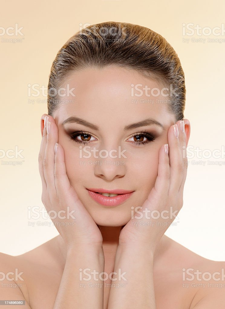 woman touching face royalty-free stock photo