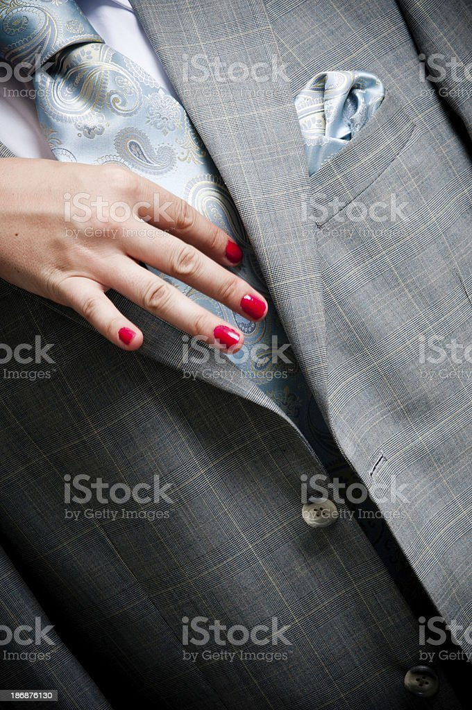 Woman touching man royalty-free stock photo