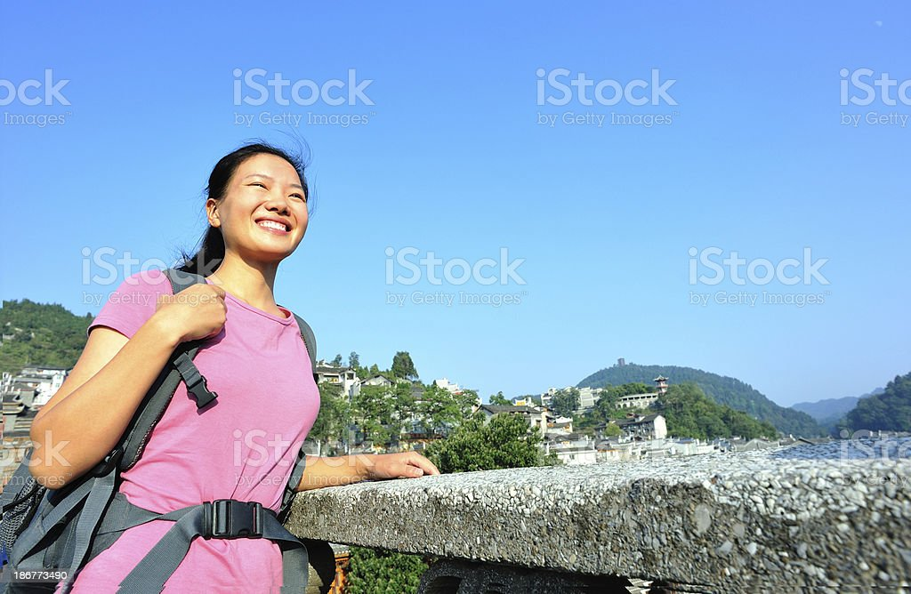 woman tourist at fenghuang anceint city stock photo