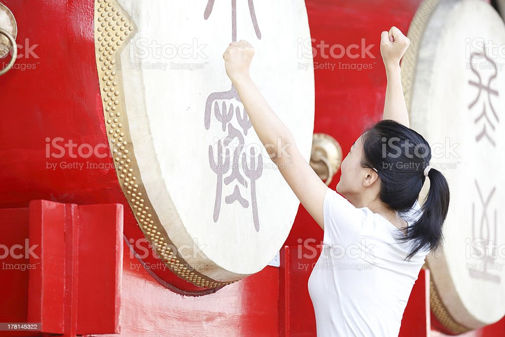 woman tourist at the drum tower,xian,china royalty-free stock photo
