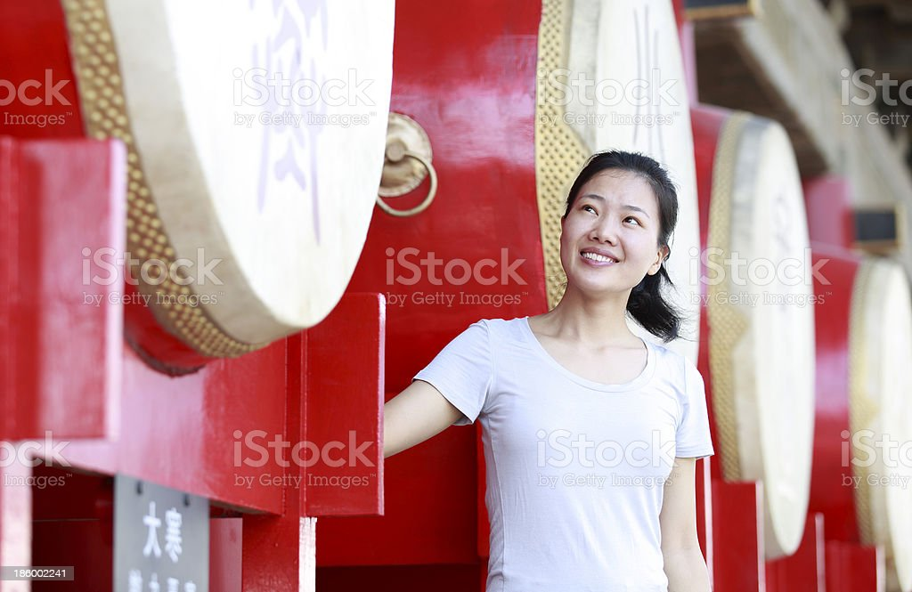 woman tourist at the drum tower,xian,china stock photo