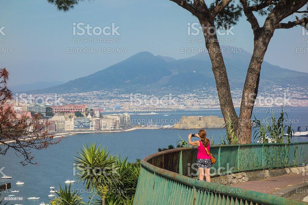 Woman Tourist, bay of Naples, Italy stock photo