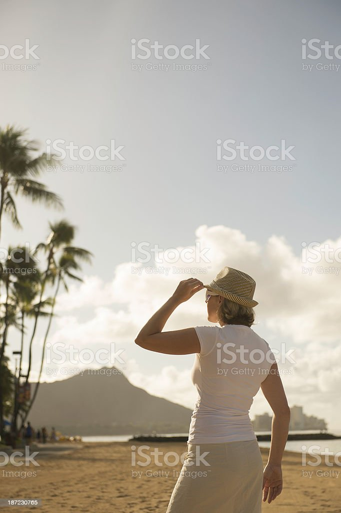 Woman tourist in Hawaii royalty-free stock photo