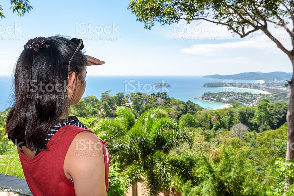 Woman tourist on high scenic view stock photo