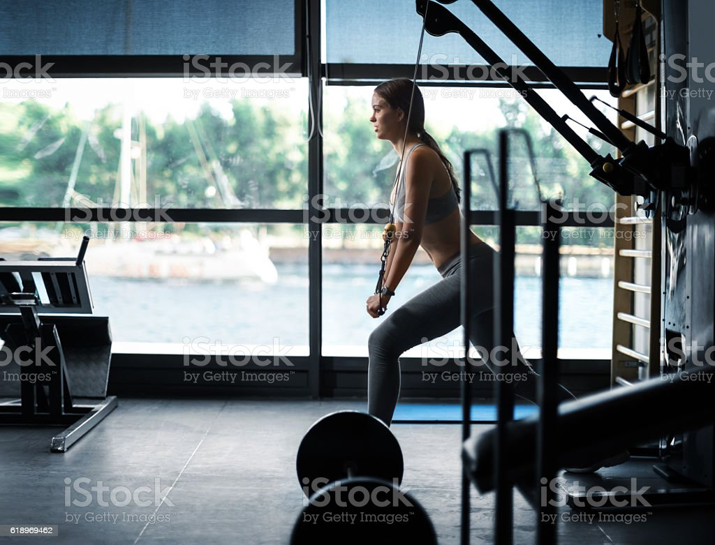Woman training hard stock photo