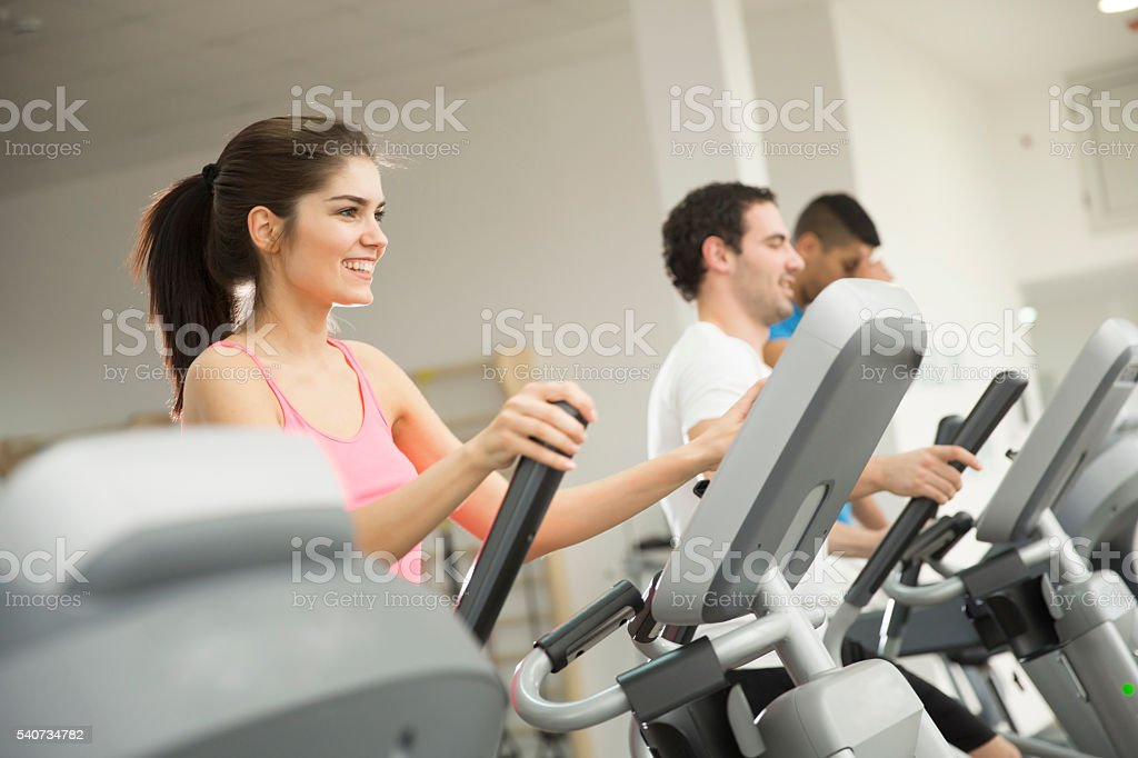 Woman training in the gym stock photo