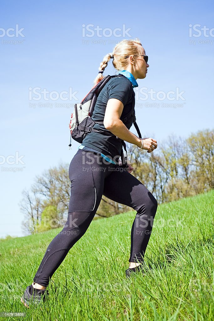 Woman training power walking royalty-free stock photo