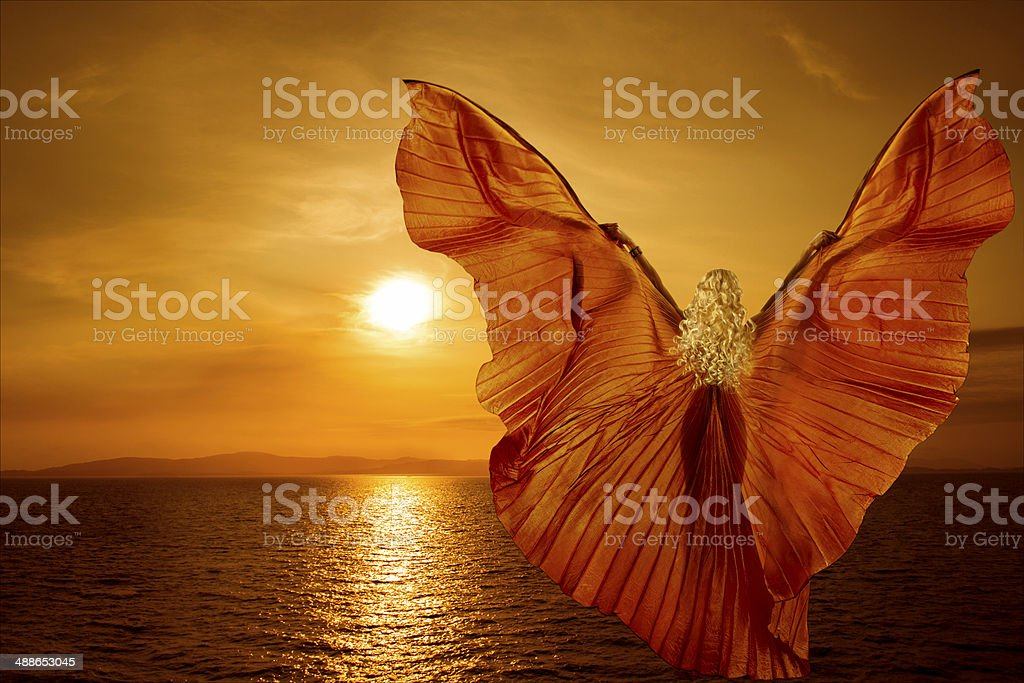 Woman transform butterfly wings flying, spirituality meditation concept, sea sunset stock photo
