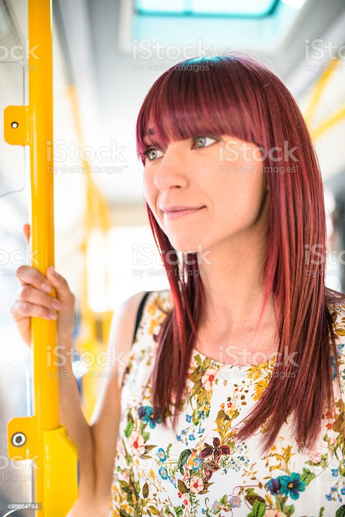 woman travel in a bus stock photo
