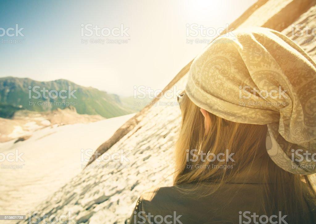 Woman Traveler climbing Travel Lifestyle concept stock photo