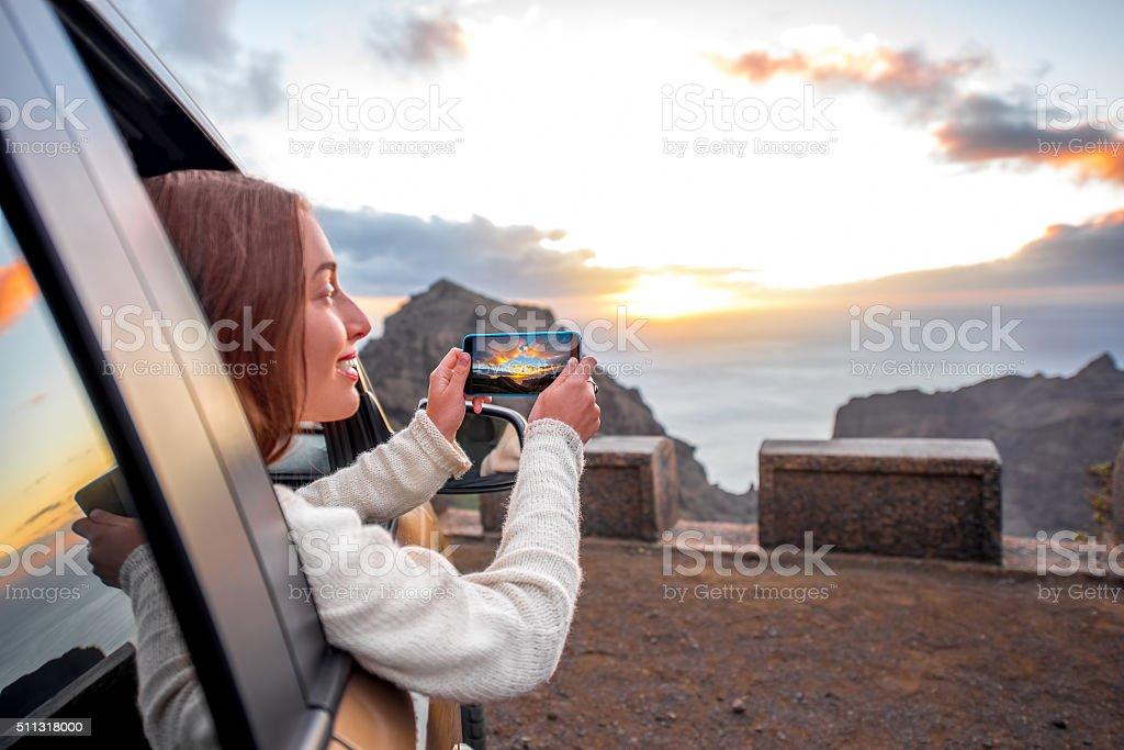 Woman traveling by car on La Gomera island stock photo