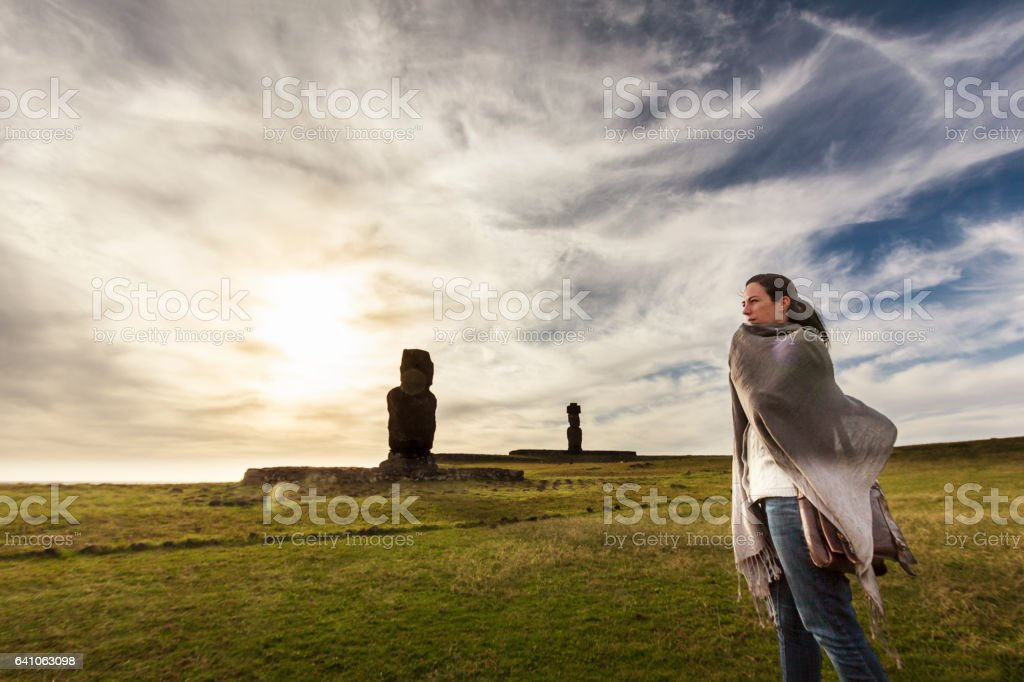 Woman Traveling in Easter Island stock photo