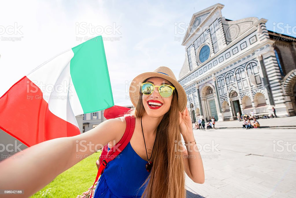 Woman traveling in Florence city stock photo