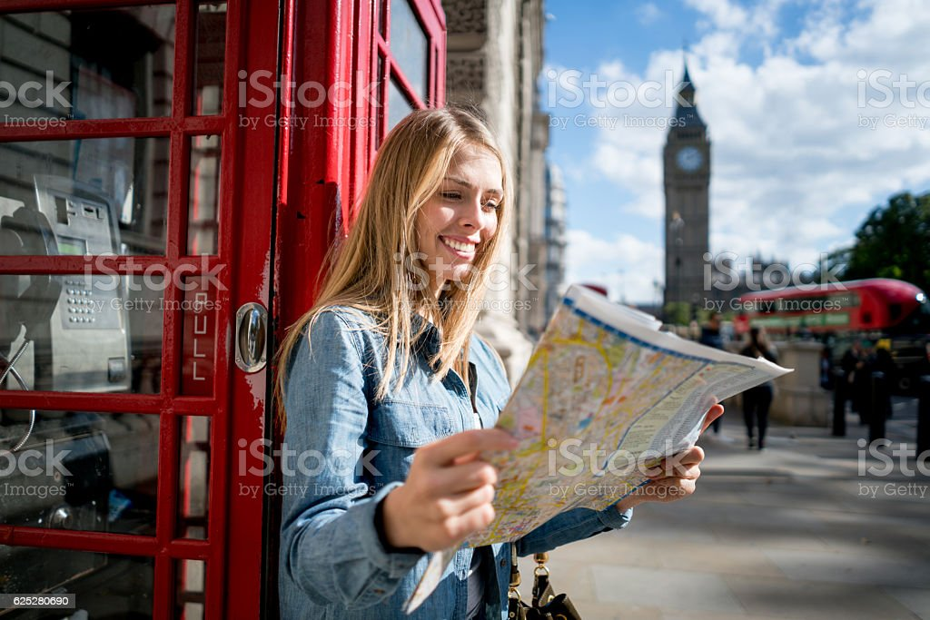 Woman traveling in London stock photo