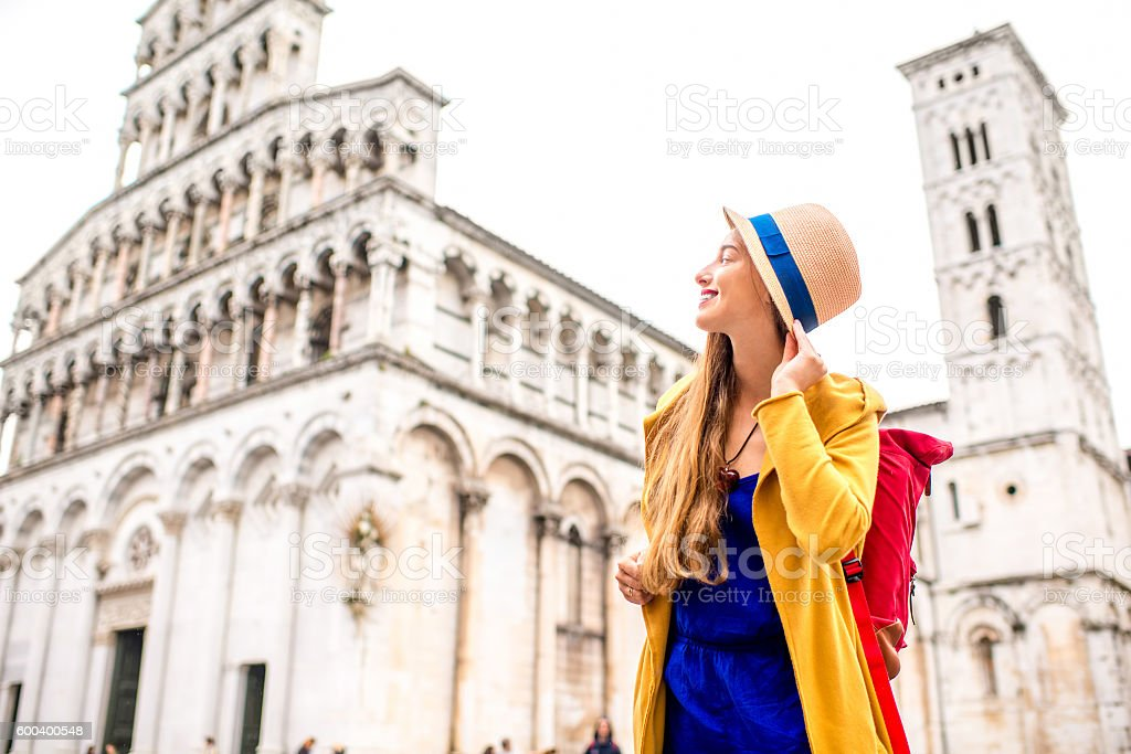 Woman traveling in Lucca old town stock photo