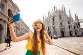 Woman traveling in Milan