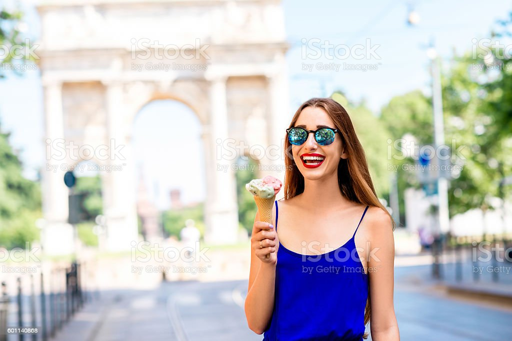 Woman traveling in Milan stock photo