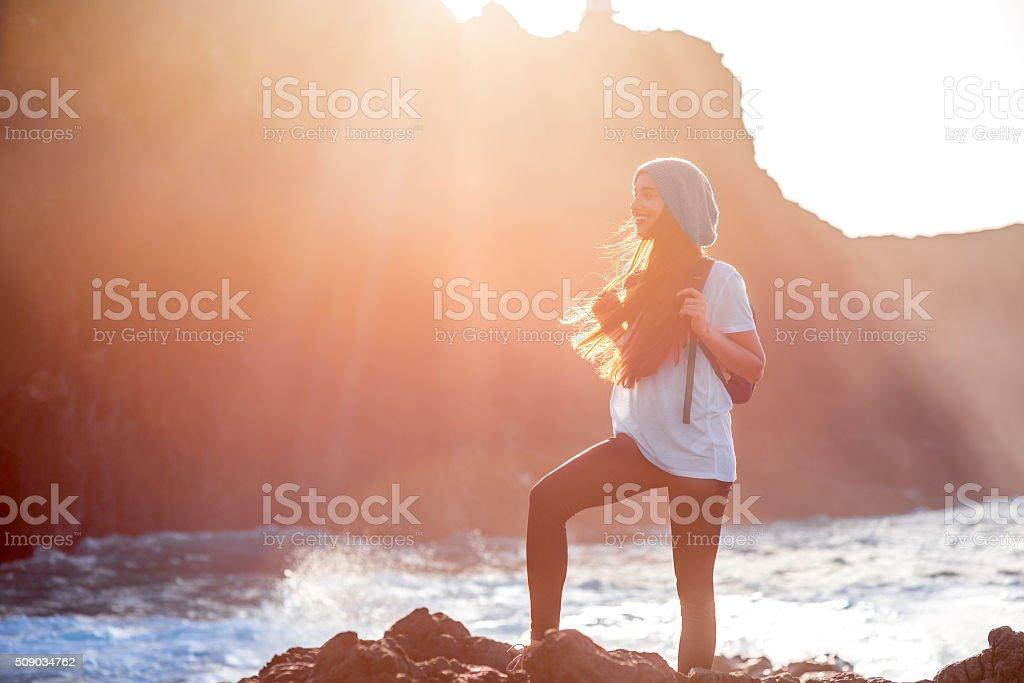 Woman traveling island stock photo