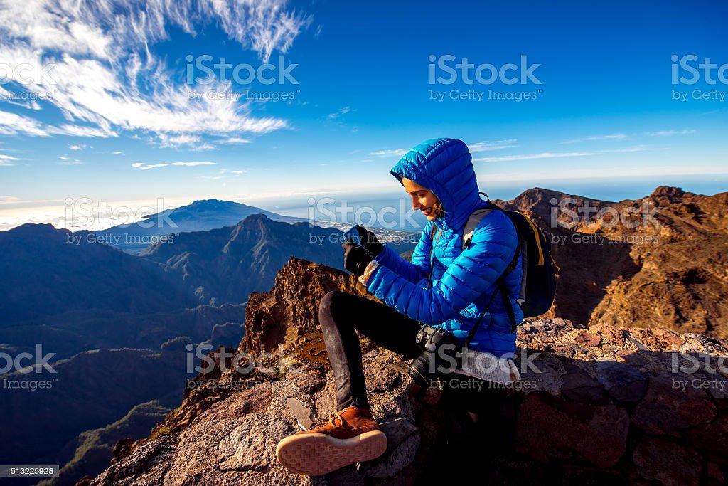 Woman traveling mountains on La Palma island stock photo