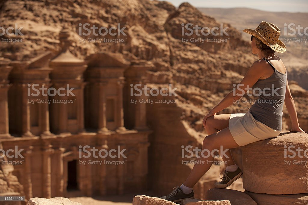 Woman traveller at ruin. royalty-free stock photo