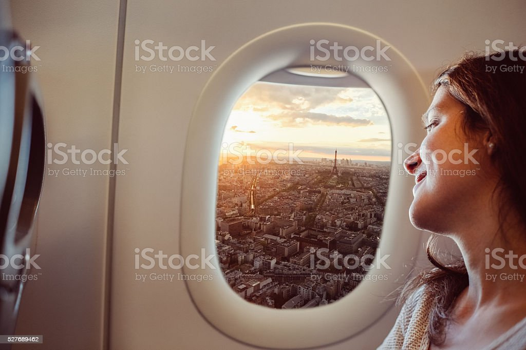 Woman travelling to Paris stock photo