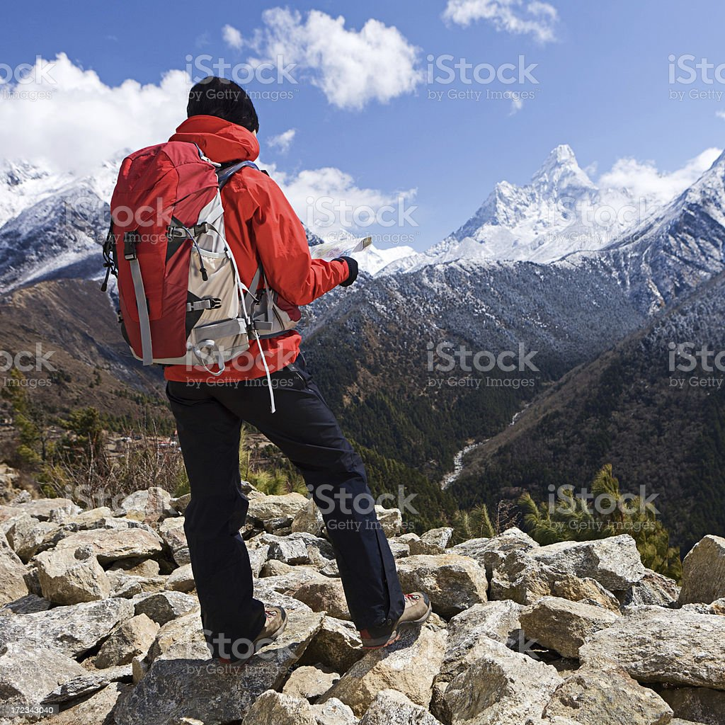 Woman trekking in Mount Everest National Park, Nepal royalty-free stock photo