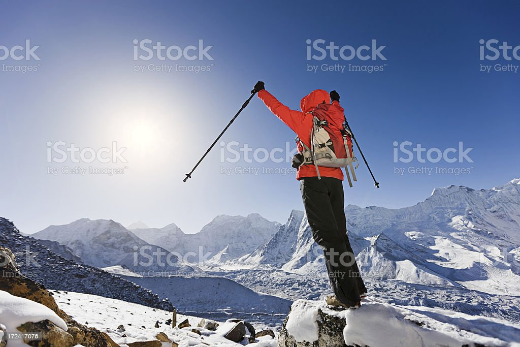 Woman trekking Mount Everest National Park, Nepal royalty-free stock photo