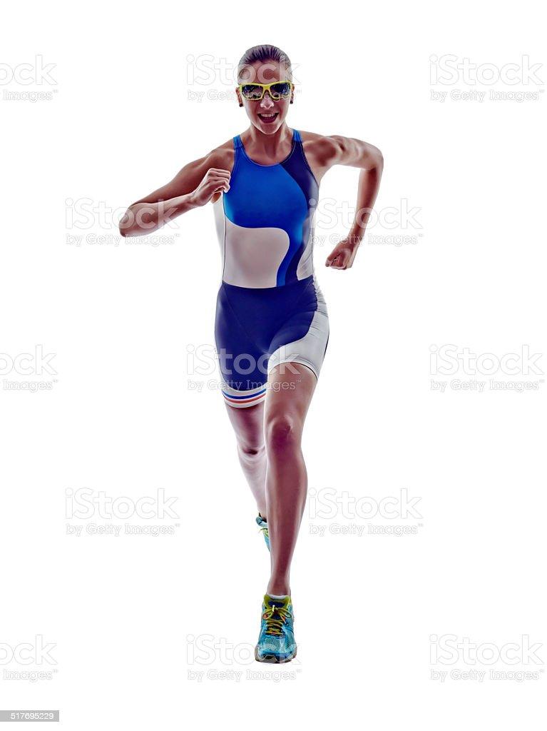 woman triathlon ironman runner running athlete stock photo