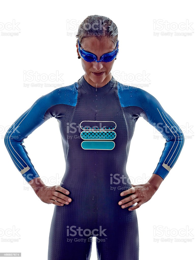 woman triathlon ironman swimmers athlete stock photo