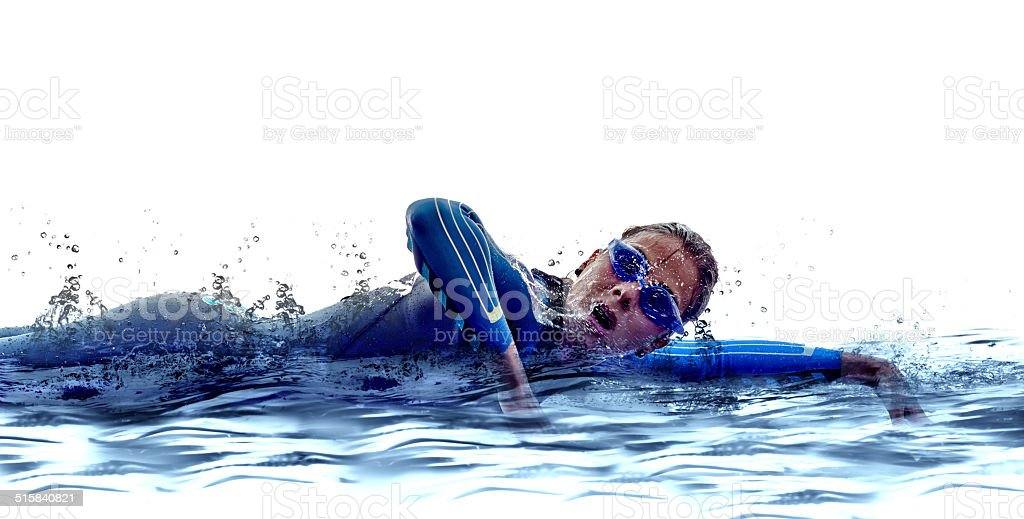 woman triathlon ironman swimmers athlete stock photo