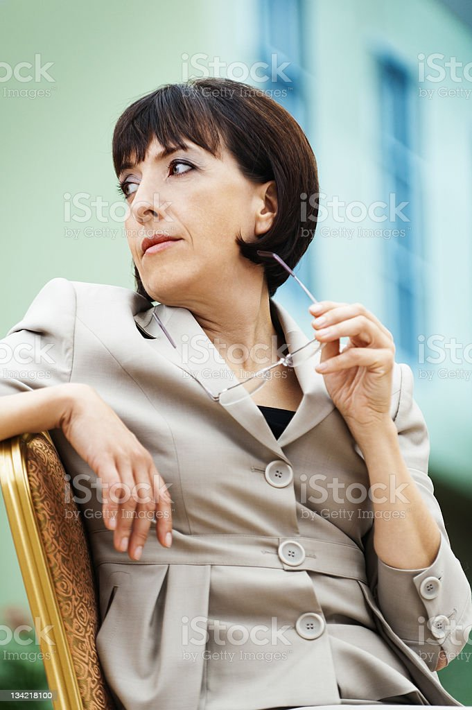woman turned back royalty-free stock photo