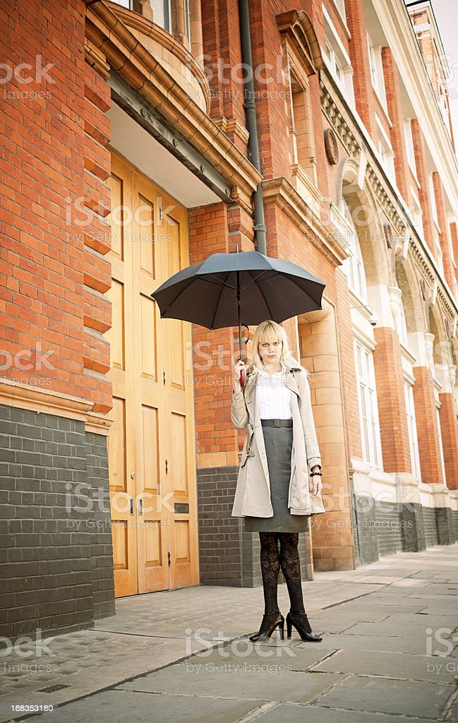 Woman, Umbrella, Fun Business Concept stock photo