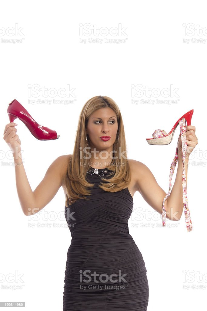 Woman undecided stock photo