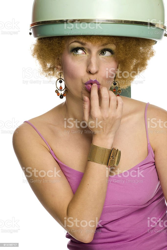 Woman Under Hairdryer royalty-free stock photo