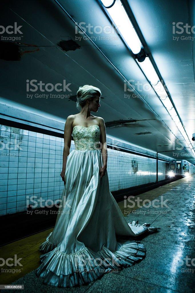 Woman underground stock photo