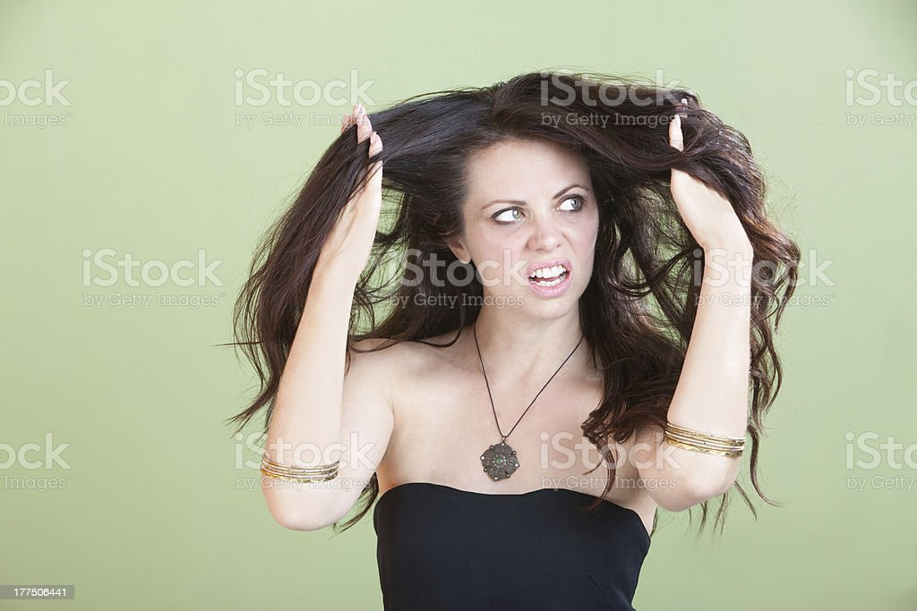 Woman Unhappy With Bad Hair stock photo