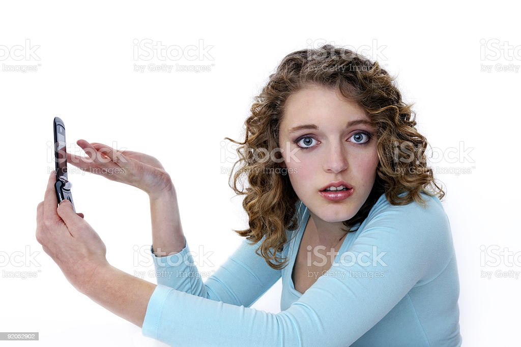 Woman unhappy with telephone stock photo