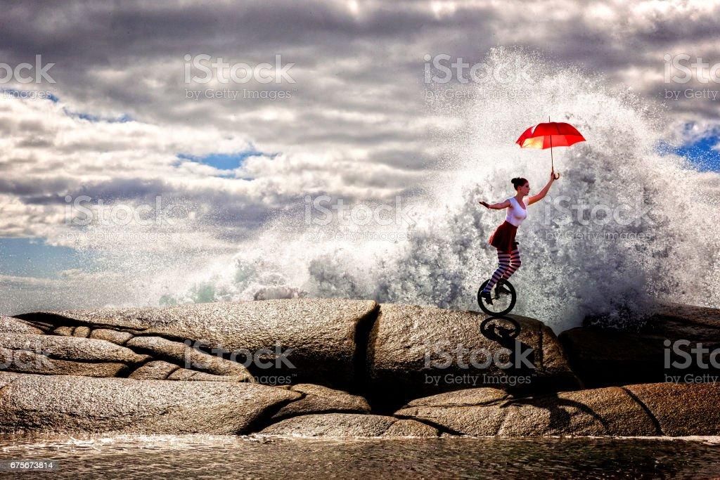 Woman Unicyclist stock photo